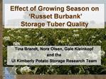 Effect of Growing Season on   Russet Burbank   Storage Tuber Quality