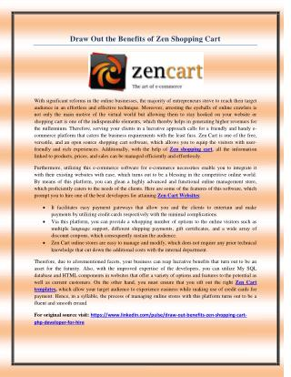 Draw Out the Benefits of Zen Shopping Cart