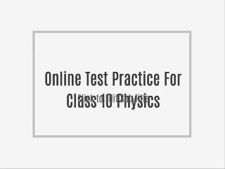 Online Test Practice For Class 10 Chemistry