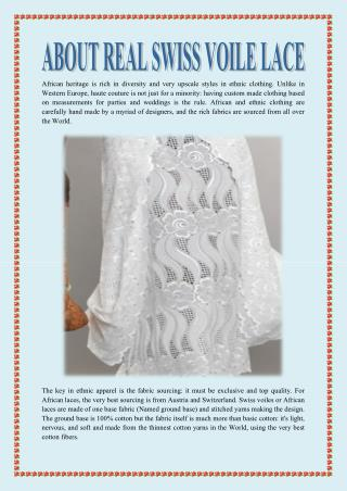 ABOUT REAL SWISS VOILE LACE