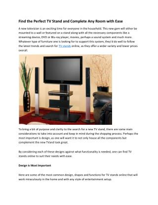 Find the Perfect TV Stand and Complete Any Room with Ease