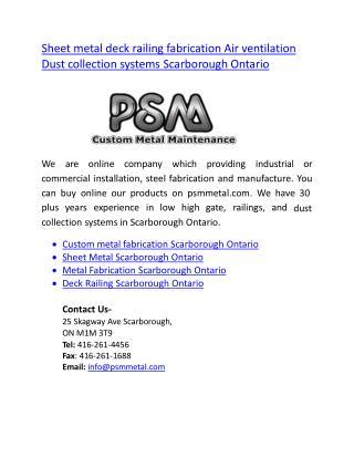 Sheet metal deck railing fabrication systems Scarborough Ontario