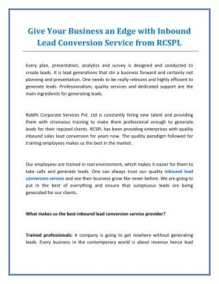 RCSPL - Best Inbound Lead Conversion Service Provider in India