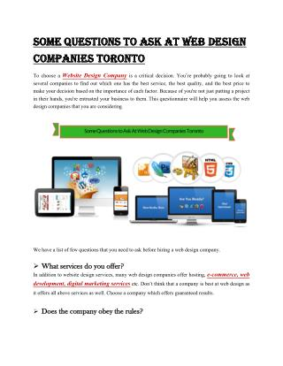 Some Questions to Ask At Web Design Companies Toronto