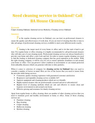 Need cleaning service in Oakland? Call BA House Cleaning