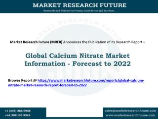 Global Calcium Nitrate Market Research Report - Forecast to 2022