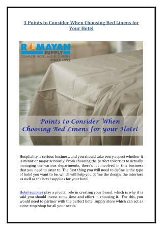3 Points to Consider When Choosing Bed Linens for Your Hotel