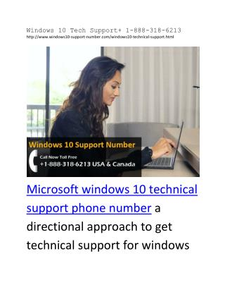 Windows 10 Tech Support  1-888-318-6213