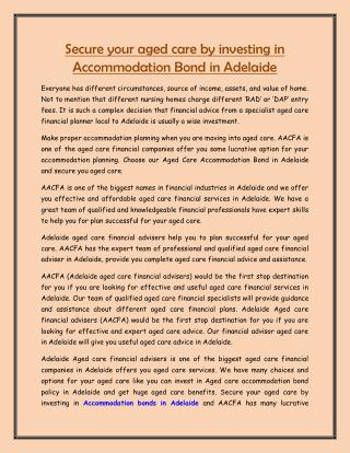 Secure your aged care by investing in Accommodation Bond in Adelaide
