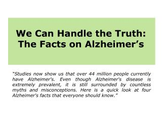 4 Facts of Alzheimer's Disease