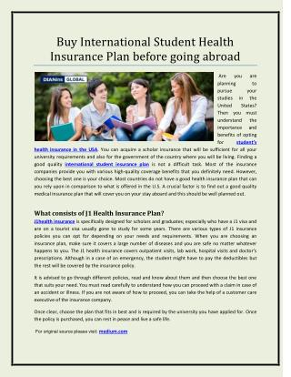 Buy International Student Health Insurance Plan before going abroad