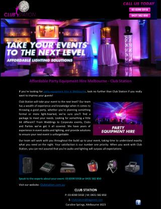 Affordable Party Equipment Hire Melbourne - Club Station