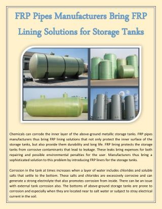 FRP Pipes Manufacturers Bring FRP Lining Solutions for Storage Tanks