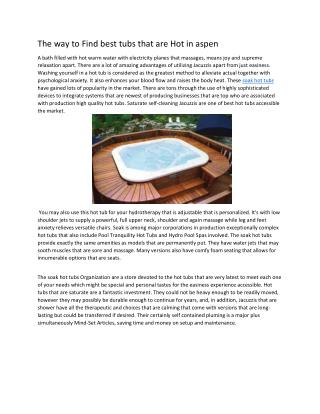 Know about soak hot tubs