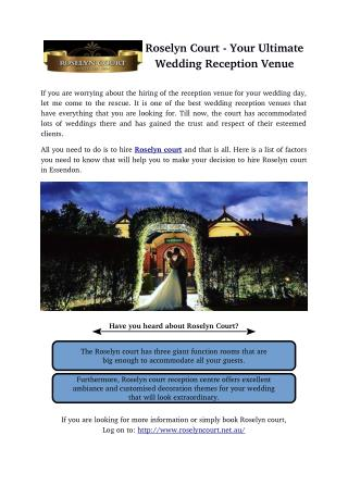 Roselyn Court - Your Ultimate Wedding Reception Venue