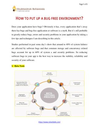 how to set a bug free environment