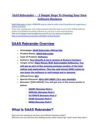SAAS Rebrander review and giant bonus with  100 items