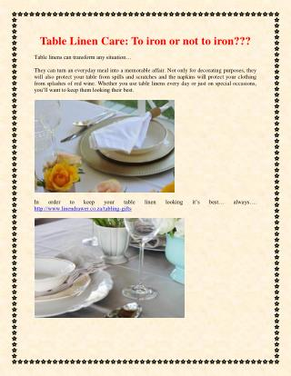 Table Linen Care: To iron or not to iron???