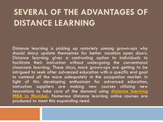 Several of the Advantages of Distance Learning