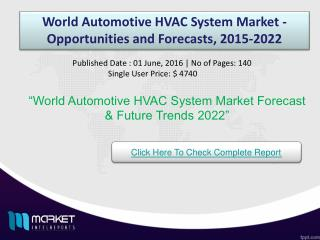 World Automotive HVAC System Market - Opportunities and Forecasts, 2015-2022