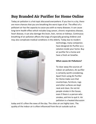 Buy Branded Air Purifier for Home Online