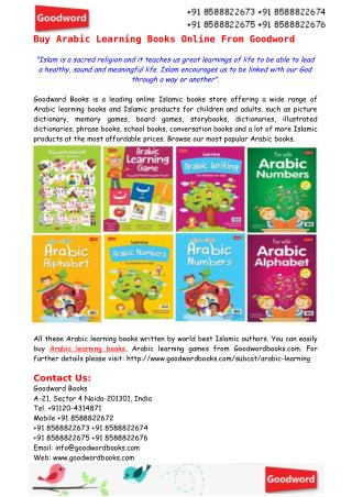 Buy Arabic Learning Books Online From Goodword
