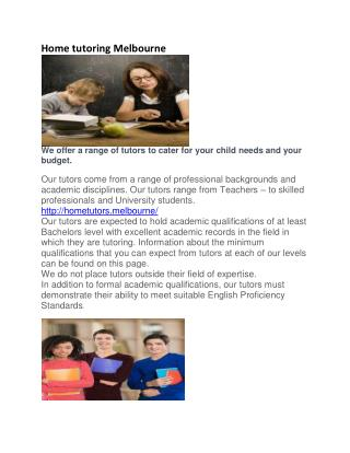 Home tutoring Melbourne