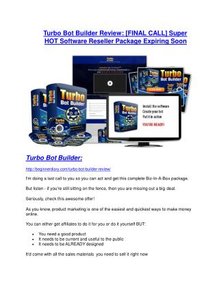 Turbo Bot Builder review demo and premium bonus