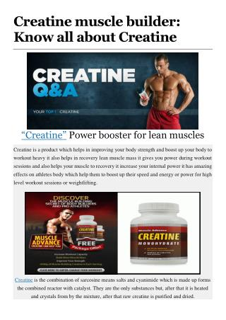 Creatine muscle builder: Know all about Creatine