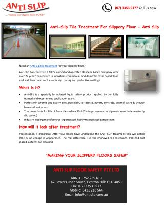 Anti-Slip Tile Treatment For Slippery Floor - Anti Slip