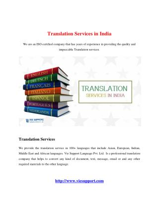 Translation Services in India