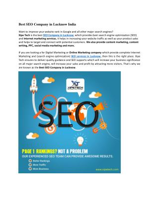 Best SEO Services in Lucknow at best price | SEO Company in Lucknow | Xipe Tech