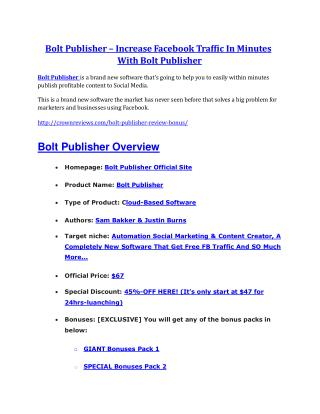 Bolt Publisher review & huge  100 bonus items