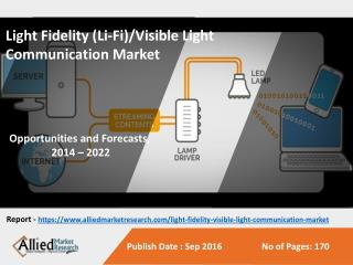 Light Fidelity (Li-Fi)/Visible Light Communication Market to Reach $115 Billion by 2022, Globally