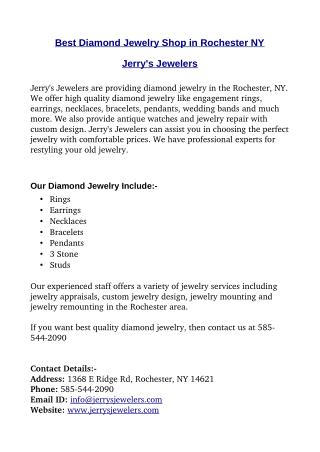 Best Diamond Jewelry Shop in Rochester NY - Jerrys Jewelers
