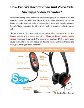How Can We Record Video And Voice Calls Via Skype Video Recorder?