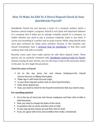 How To Make An Edit To A Direct Deposit Check In Your Quickbooks Payroll?