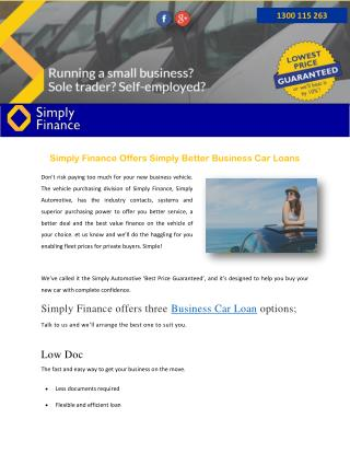Simply Finance Offers Simply Better Business Car Loans