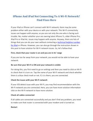 IPhone And iPad Not Connecting To A Wi-Fi Network? Find Fixes Here