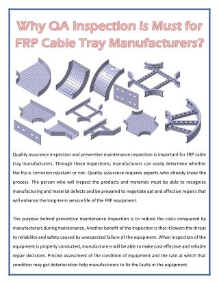 Why QA Inspection is Must for FRP Cable Tray Manufacturers?