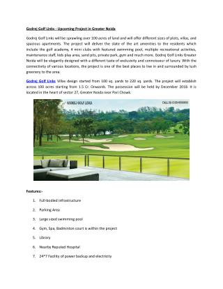 Godrej Golf Links -Upcoming Project in Greater Noida