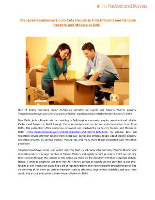 Thepackersandmovers.com Lets People to Hire Efficient and Reliable Packers and Movers in Delhi!!