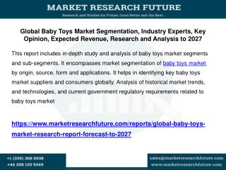 Global Baby Toys Market Segmentation, Industry Experts, Key Opinion, Expected Revenue, Research and Analysis to 2027
