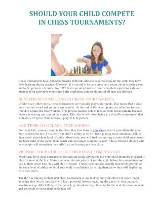 SHOULD YOUR CHILD COMPETE IN CHESS TOURNAMENTS