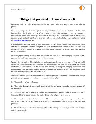 Read Things that you need to know about a loft