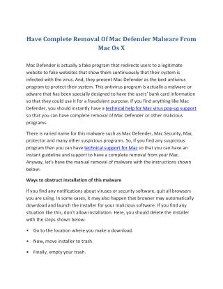 Have Complete Removal Of Mac Defender Malware From Mac Os X