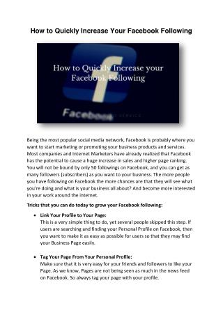 How to Quickly Increase Your Facebook Following