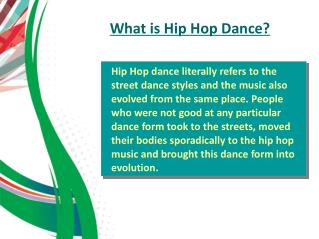 What is Hip Hop Dance
