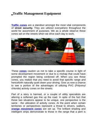 Importance of Traffic Cones