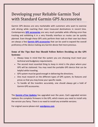 Developing your Reliable Garmin Tool with Standard Garmin GPS Accessories